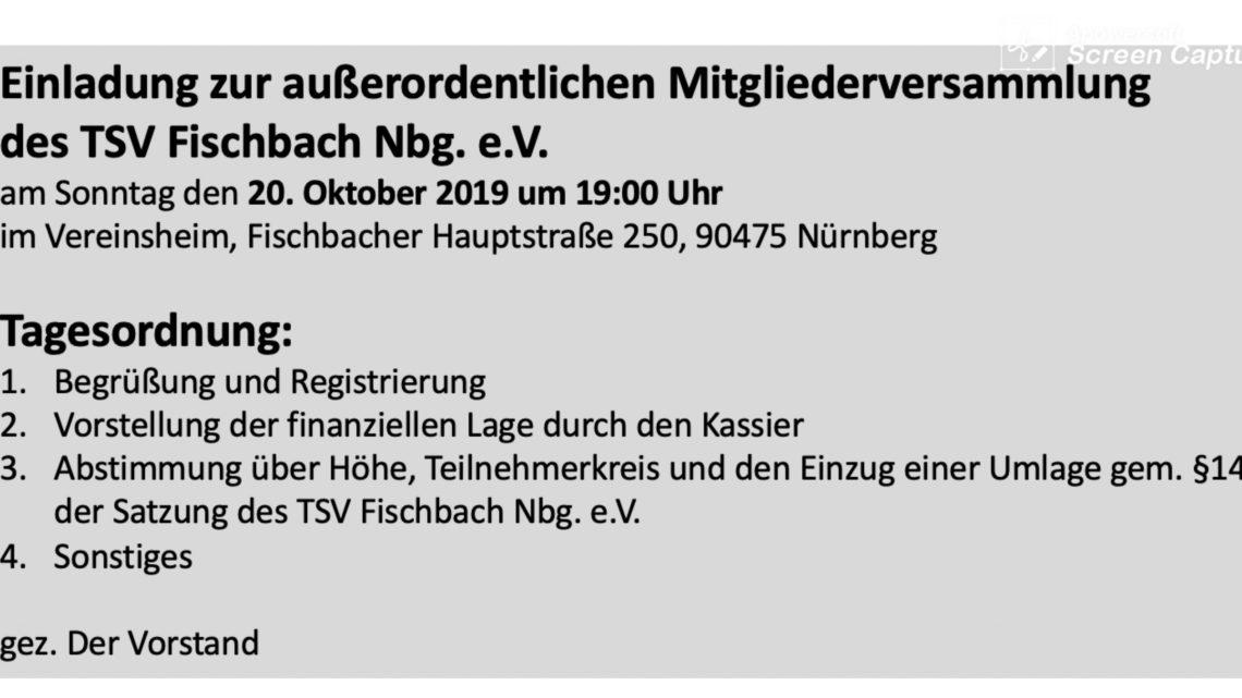 Einladung zur außerordentlichen Mitgliederversammlung am 20.10.2019 um 19:00 Uhr